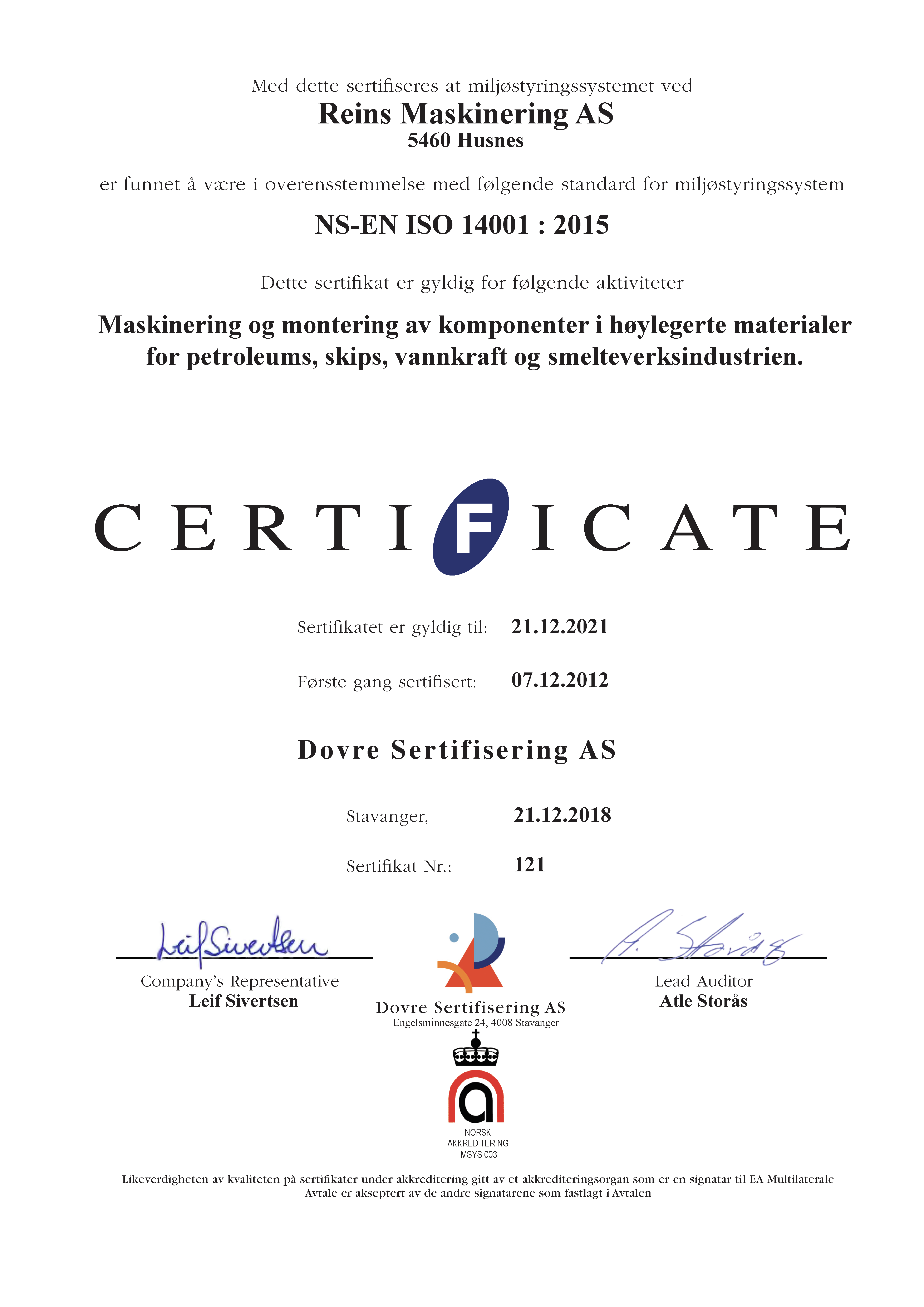 Sertifikat ISO 14001-2015 norsk
