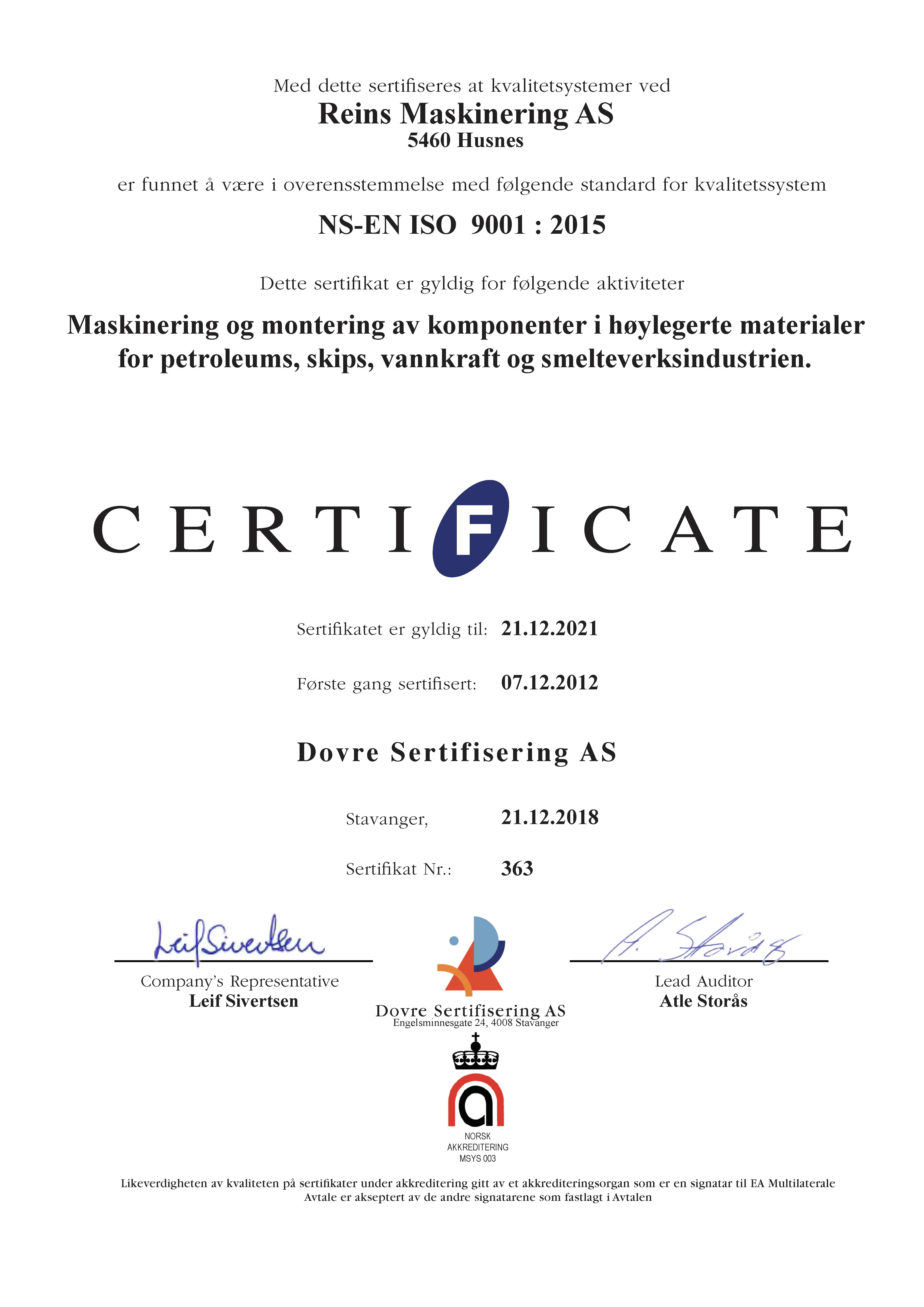 Sertifikat ISO 9001-2015 Norsk